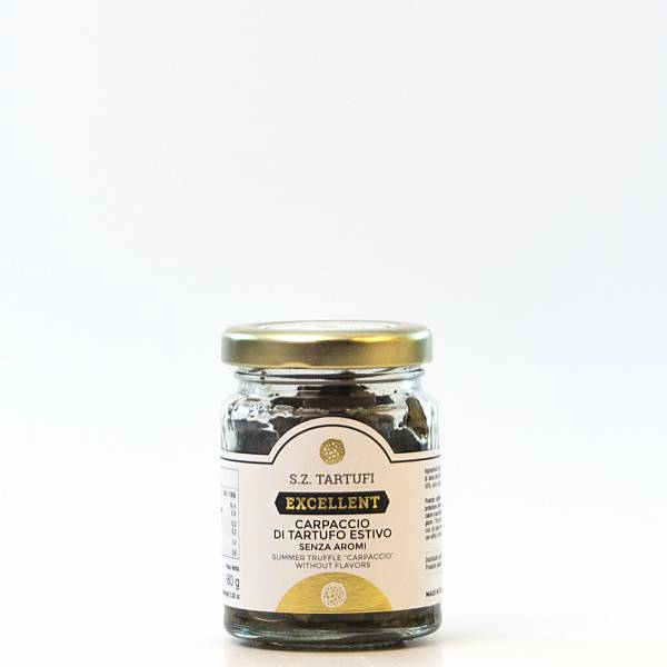 Summer truffle carpaccio without chemical aromas in extravirgin olive oil 80 gr.